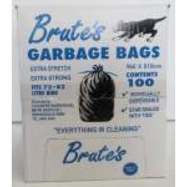 BRUTE CLEANERS WAREHOUSE BRUTE BLACK GARBAGE BAGS 72-82LT HEAVY DUTY CTN 100