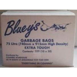 CWB CLEANERS WAREHOUSE BLUEYS 75LT BLUE GARBAGE BAGS CTN 500