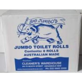 CWJ2 CLEANERS WAREHOUSE JUMBO TOILET ROLLS 2PLY CTN 8