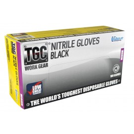 16001 TGC BLACK NITRILE DISPOSIBLE GLOVES BOX 100