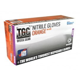 160030 TGC ORANGE NITRILE DISPOSIBLE GLOVES BOX 100